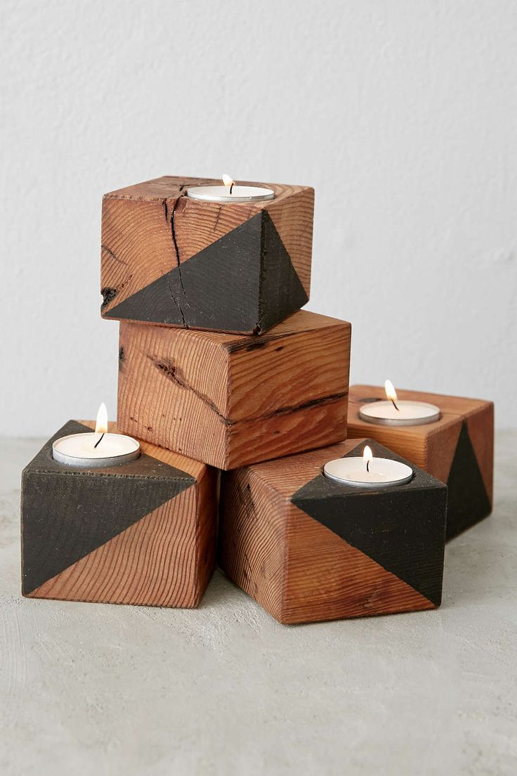 Farmhaus Dark Douglas Fir Candle Holder (with milkpaint details) - Urban Outfitters