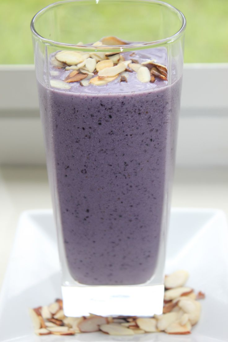 ~ A Protein Smoothie That Helps Reduce Belly Fat ~  1 cup almond milk plus water to desired consistency  1/2 cup frozen blueberries  1/4 frozen banana  1/2 tbsp almond butter  1 tbsp sliced almonds, toasted  1 scoop vanilla protein powder ~