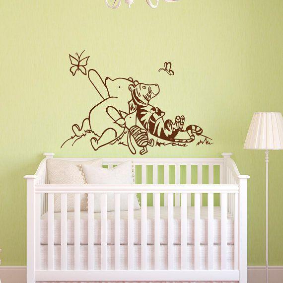 Winnie the pooh wall decals nursery classic winnie the for Classic pooh nursery mural