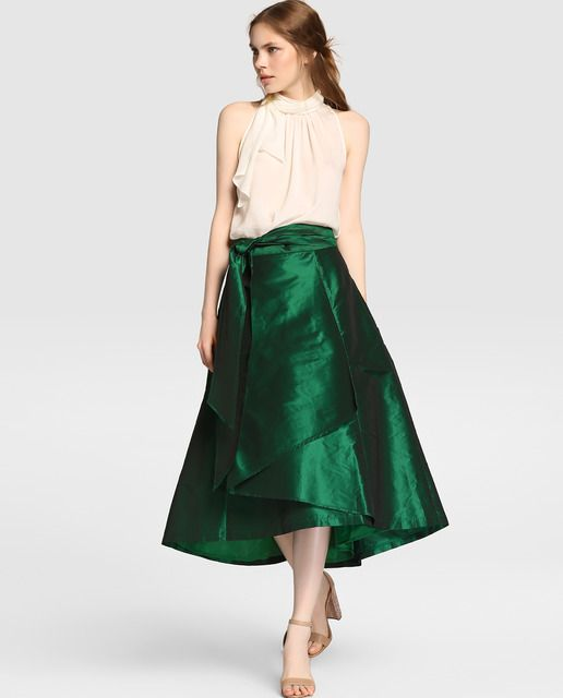 Falda larga de mujer Tintoretto en tafetán verde