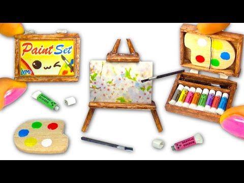 Miniature DIY Paint Set (paintings, easel, palette, acrylic colors) - Art Supplies - YolandaMeow♡ - YouTube