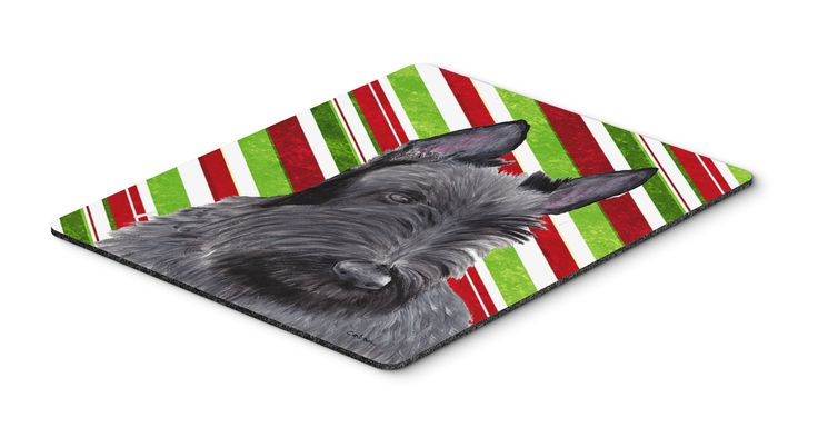 Scottish Terrier Candy Cane Holiday Christmas Mouse Pad, Hot Pad or Trivet