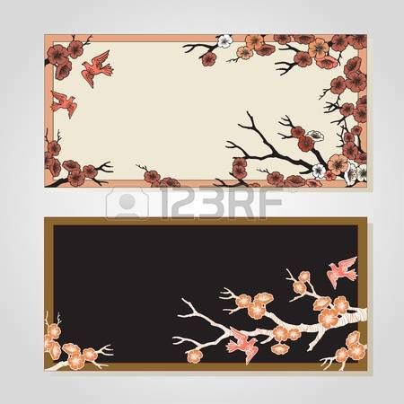 Vector set of spring banners. Sakura blossoms and birds. Black and white outlined illustration. -8