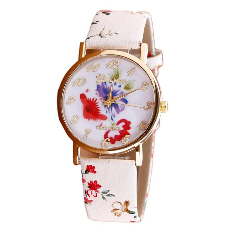 Lovesky Mode 2016 Neue Damenuhr Blume Muster Leder Uhren Dame Mädchen Kleid Relogio Analog Quarz Vogue Armbanduhren