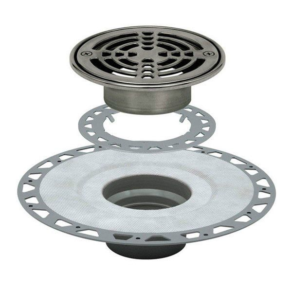 Schluter Kerdi Drain Kit 6 Round Stainless Steel Grate Pvc Flange With 3 Drain Outlet