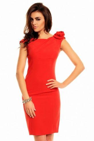 Wizytowa sukienka z różą - czerwona KM139-1