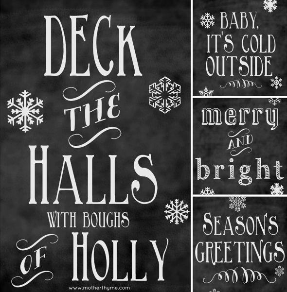 Free #Christmas #Chalkboard #Printables by Mother Thyme, featured @printabledecor1