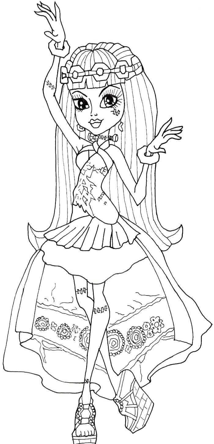 Monster High Coloring Pages High Frankie Colors Monsters