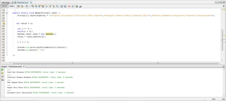 Been playing with NetBeans and created a 'generic video-game name generator'.