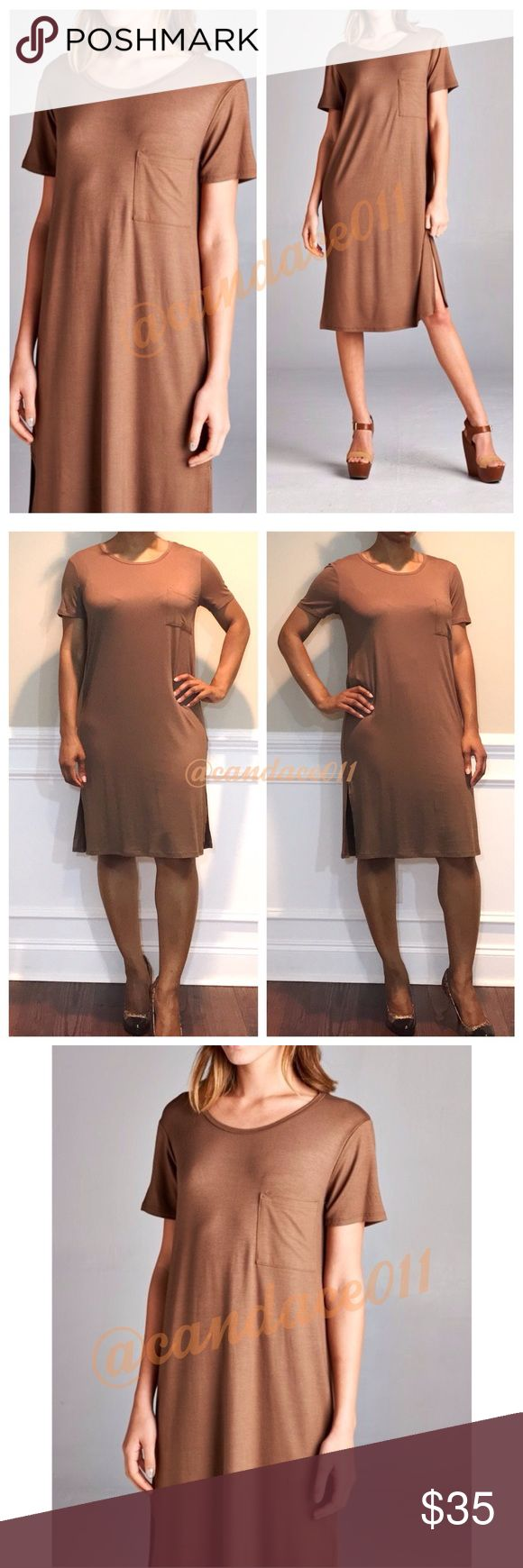 "T-Shirt Midi Dress (Mocha) ✳️Feel free to make a reasonable offer. 👍 ✳️ 🔹Short sleeved. Round neck. Front pocket. 🔹10"" slits on each side. 🔹95% Rayon, 5% Spandex 🔹Size recommendations: S (2-4), M (6-8), L (10-12) 🇺🇸Made in the USA🇺🇸 CC Boutique  Dresses Midi"