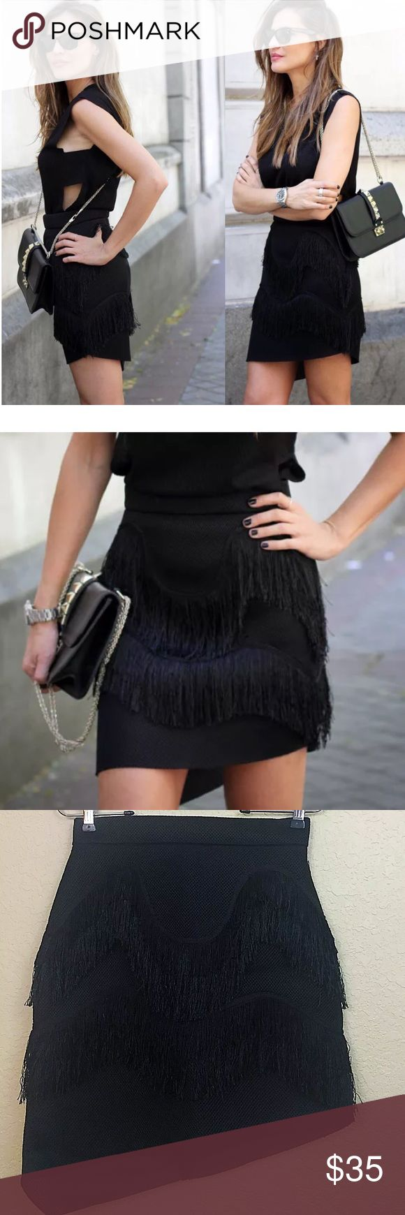 Zara neoprene tassel skirt • Zara skirt • Fringe detailing • Neoprene sheer • Size medium  • $60 Zara Skirts