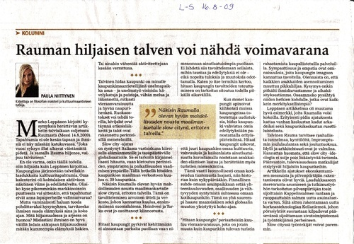My article about Slow city - cultural heritage of Rauma