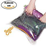 #1: 8 Travel Storage Bags for Clothes  No Vacuum or Pump Needed -Reusable Space Saver Packing Sacks (4 items  2820 4 items  2416)  Rolling Compression for Luggage