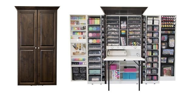 Omg this is craft storage heaven! The scrapbox looks like a normal armoire, but unfolds to all that space, AND has a fold out table.