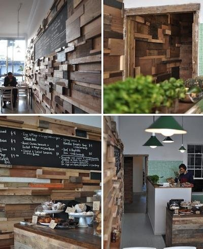 DesignDaily - Cozy Slowpoke Expresso Cafe Lines Its Walles with Recycled Timber Offcuts