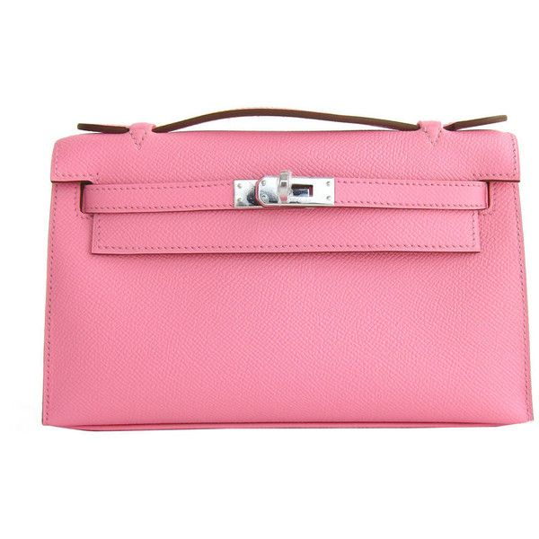 Preowned Hermes Rose Confetti Epsom Kelly Pochette Pink Clutch Bag... ($15,950) ❤ liked on Polyvore featuring bags, handbags, clutches, purses, red, man bag, handbags purses, evening handbags, hermes purse and evening hand bags