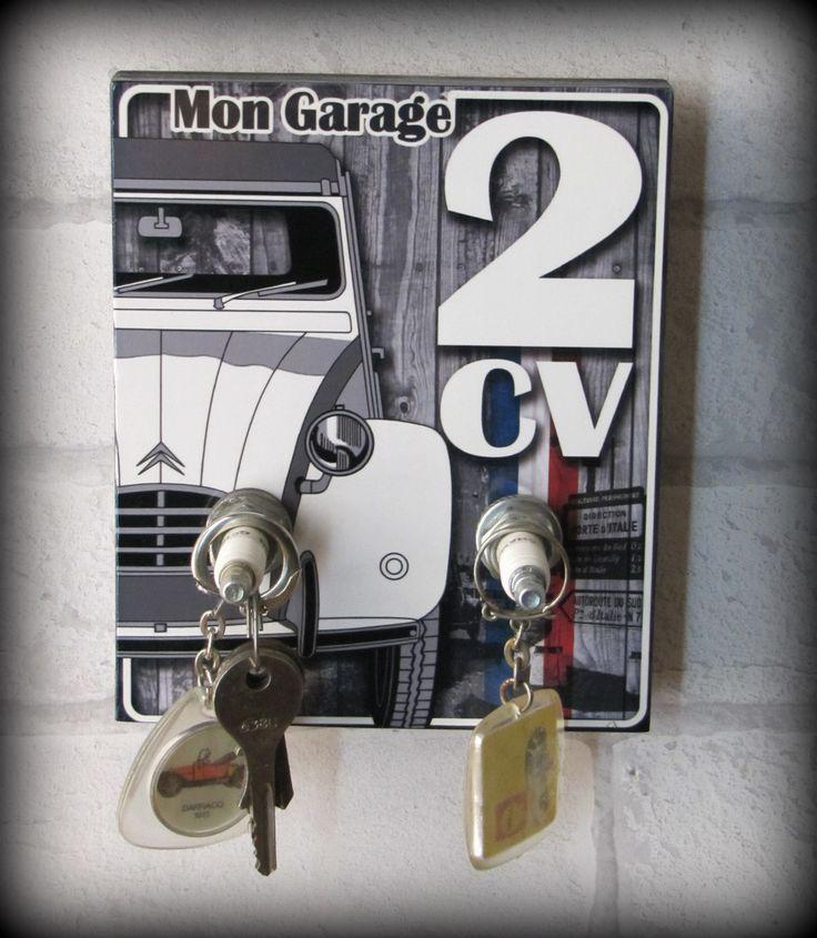 """accroche clés citroën vintage """"mon garage 2CV"""" par déco bolides : Meubles et rangements par deco-bolides"""