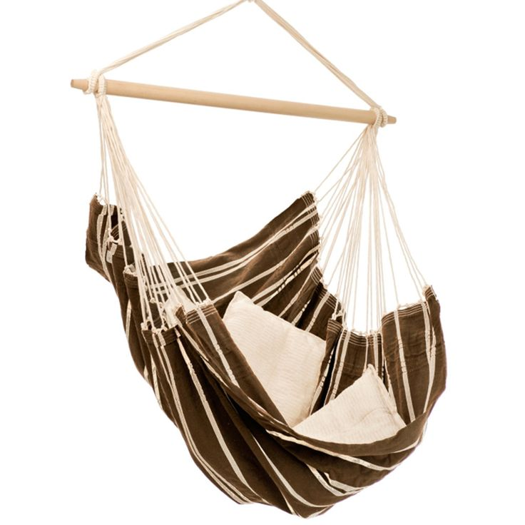 Handwoven in Brazil, the Brazil Hammock Chair is the ultimate in hanging chair comfort. Spacious and comfortable, the blend of 85% recycled cotton and 15% polyester conforms to your body like your fav