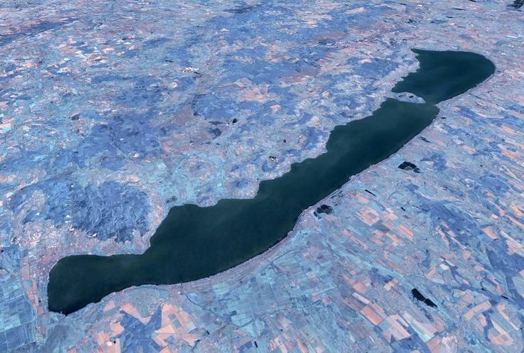 Lake Balaton aerial view (size: 77 km x 1.3-14 km) #Hungary #Europe #lake #Balaton #Plattensee