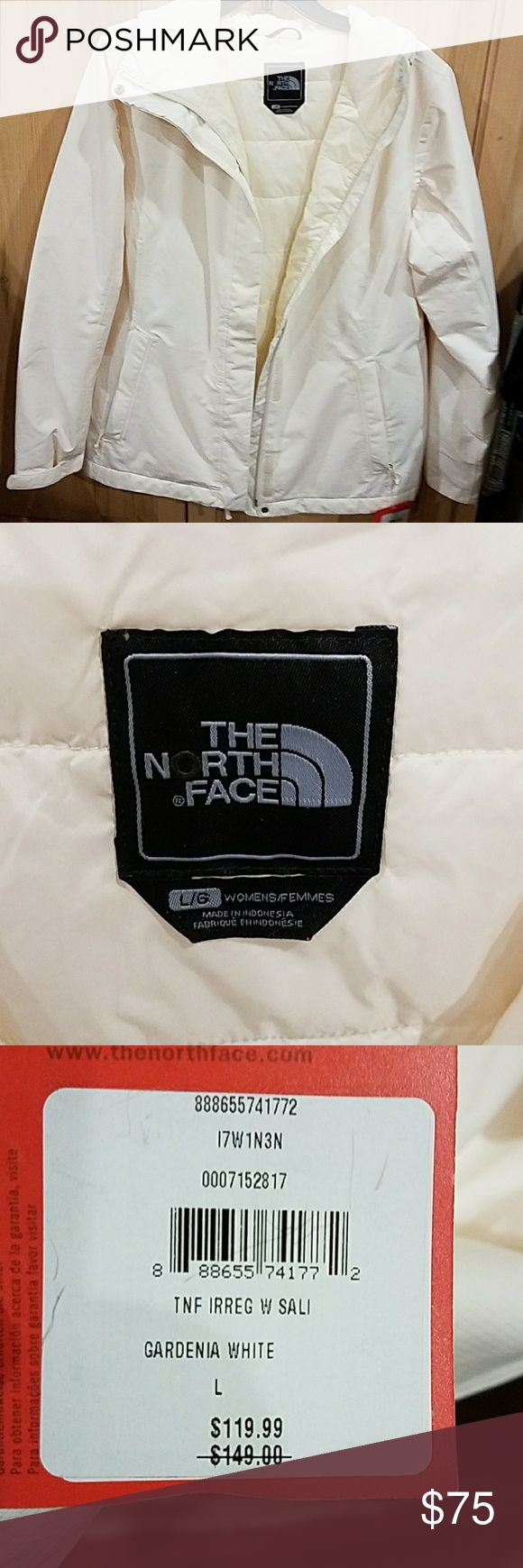 THE NORTH FACE Hyvent Salita Jacket Large NWT NEW WITH TAGS. I purchased this to use as an outer shell on my puffer jacket but color did not match up it can be worn by itself. . It was purchased at an outlet as a final sale. The color on tag is Gardenia White so this is going to have more of the peach ivory undertones. Style is Salita HYVENT and is full zip front with hood. Tag shows actual price paid for this jacket. The North Face Jackets & Coats