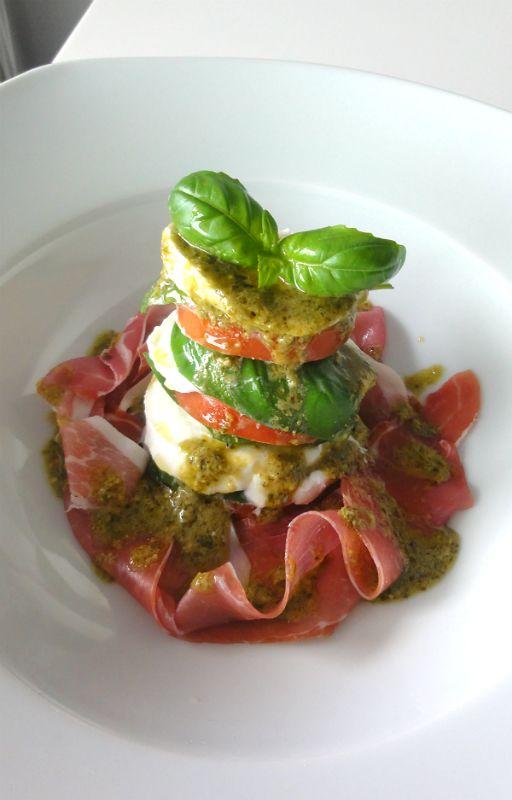 Caprese Salad tower with iberico ham