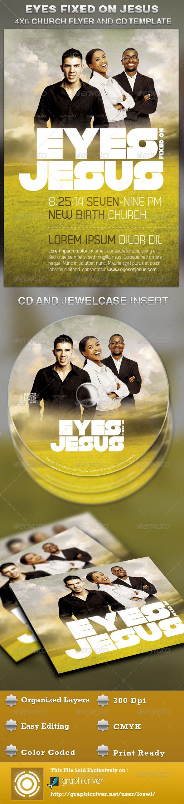 Eyes Fixed on Jesus Church Flyer and CD Template — Photoshop PSD #bulletin cover #concert flyer • Available here → https://graphicriver.net/item/eyes-fixed-on-jesus-church-flyer-and-cd-template/4754052?ref=pxcr