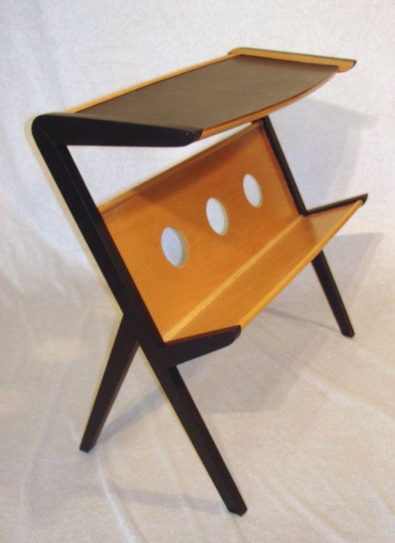 Vintage Modernism MAGAZINE RACK TABLE, Germany Mid Century Modern