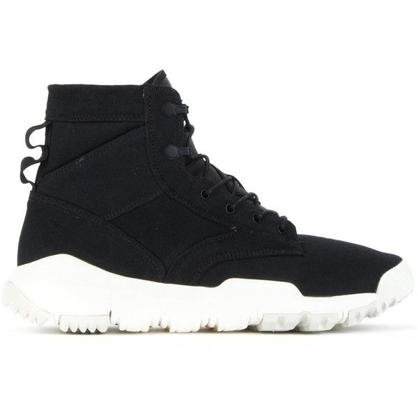 Nike 'SFB Field' hi-top sneakers ($170) ❤ liked on Polyvore featuring men's fashion, men's shoes, men's sneakers, black, mens high top sneakers, nike mens shoes, mens high top shoes, mens black high top shoes and nike mens sneakers