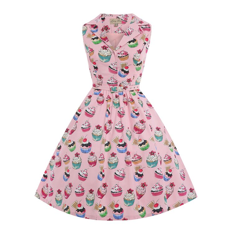 'Matilda' Pink Cupcakes Print Rockabilly Shirt Dress - from Lindy Bop UK