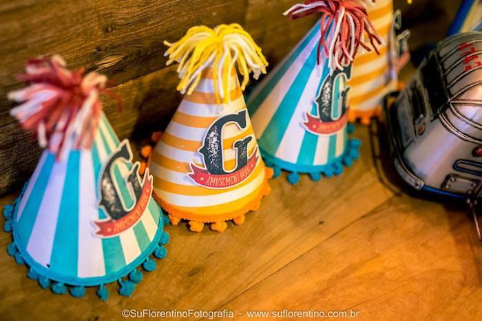 Party Hats from a Vintage Carnival + Amusement Park Party via Kara's Party Ideas | KarasPartyIdeas.com (16)