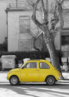 steel poster Street art #fiat500 #cinquecento #cityCar #car #italian yellow #photography iconic #transportation #displate #print