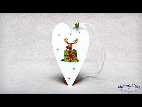 Świąteczny decoupage – serduszko – Manufaktura Justyny – artykuły do rękodzieła i ozdoby hand made