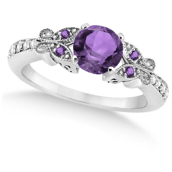 Allurez Butterfly Amethyst & Diamond Engagement Ring 14K White Gold... ($1,255) ❤ liked on Polyvore featuring jewelry, rings, accessories, purple, jewels, butterfly ring, engagement rings, diamond accent rings, diamond jewelry and diamond butterfly ring