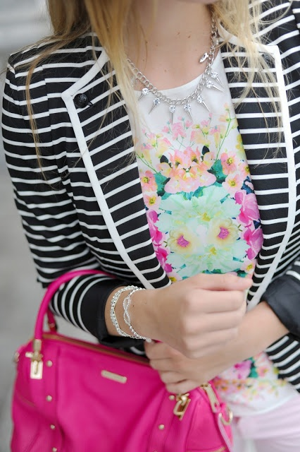 Floral shirt and striped blazer