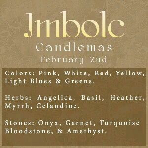 Witches Sabbats P3 Imbolic -- (February 2) Also know as Candlemas or Imbolic, this holiday signals the end of winter's gloom and the anticipation of the coming spring for most witches and pagans. Candles to banish the darkness of the winter season are the symbols of this day. White and pastels are the colours  for imbolic..Ostara -- (March 20 -22, depending on when the equinox falls) This holiday, also known as the Spring Equinox, celebrates the newness of spring and the rebirth of life