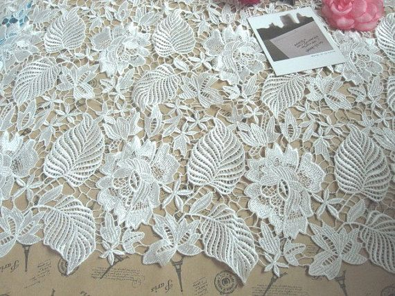 Amazing White Bridal Fabric Rose with Leaf Lace Fabric Wedding Dress Fabric Embroidered Lace