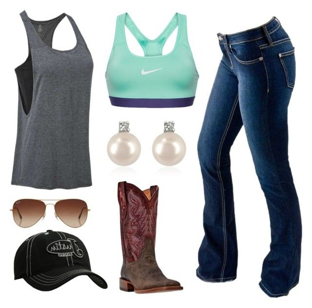 """""""Feel Free To Invite Your Country Friends To The Group"""" by im-a-jeans-and-boots-kinda-girl on Polyvore featuring Tasc Performance, Bullet, NIKE, Justin Boots, Rayban, Forzieri and country"""