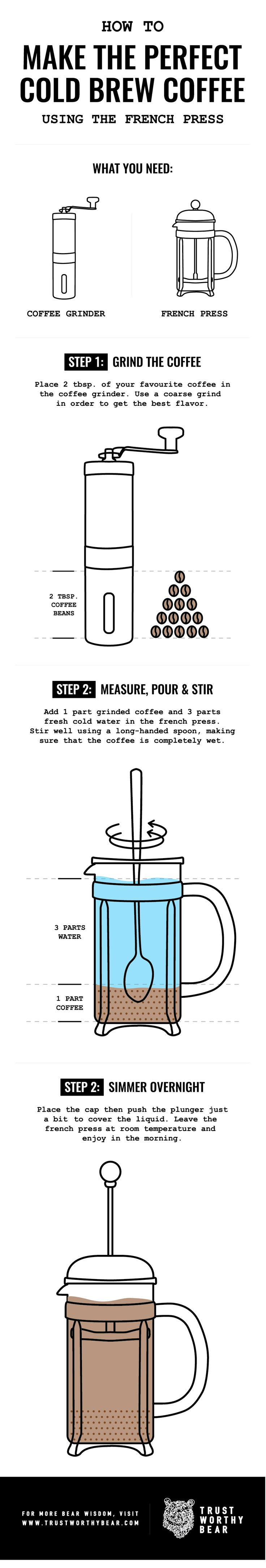 How to make the perfect cold brew coffee using a French Press! Download the pdf on www.trustworthybear.com #coffee #coldbrew #frenchpress