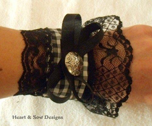 Lace Cuff Bracelet Black, Victorian, Steampunk, Boho, Gothic