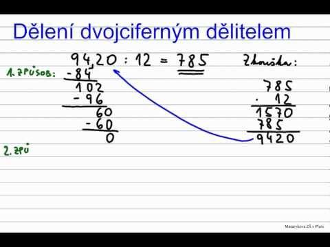 Dělení dvojciferným dělitelem - př. 1 - YouTube