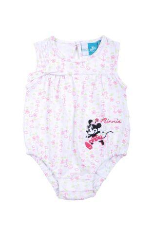 Braga para bebé niña en tela estampada de florecitas rosadas y verdes. Cuello redondo y sin mangas.