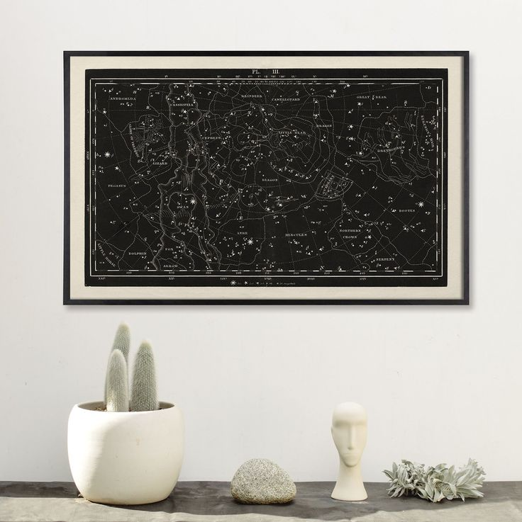 Large Horizontal Constellation Star Chart. This wide format print is based on a restored and very rare Antique Constellation Map from 1849, with detailed constellation formations such as Swan, Dolphin, Greyhound, Dragon, Andromeda, and more. The restored print is rich in black or blue with bold lines and lettering. Great for the Library, Den, Bedroom or Living Room. Great gift for Dad or Constellation enthusiasts. Great Antique decor. ** Please note: This listing is for the print only…