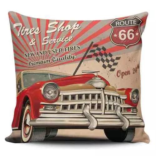 Cojin Decorativo Tayrona Store Carro Ruta 66 Vintage - $ 43.900