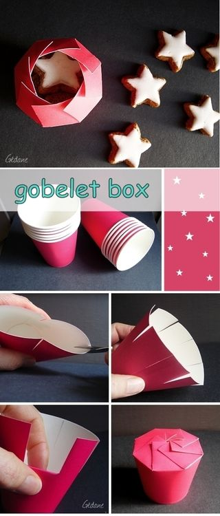 How to: Paper Cup Gift Packaging. Via: http://gedane.over-blog.com