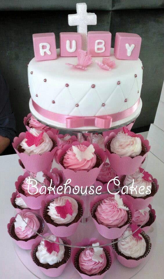 Christening Cake & Cupcakes