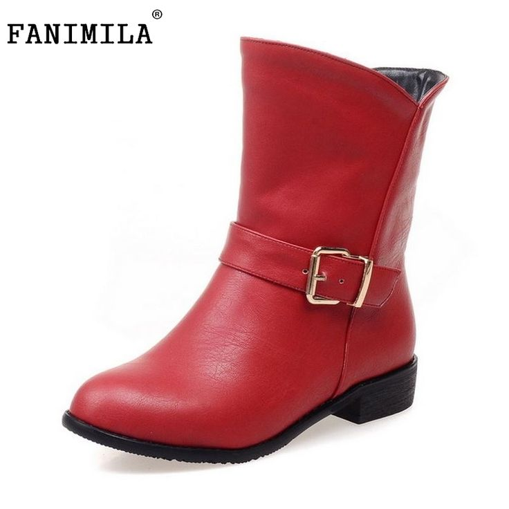 26.98$  Watch here - http://ali2dd.shopchina.info/go.php?t=32740176230 - Women Flat Half Short Boots Winter Military Mid Calf Boot Buckle Martin Botas Fashion Quality Footwear Shoes Size 34-42  #magazineonline