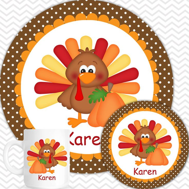 Thanksgiving Turkey Plate Bowl Mug Set - Personalized Turkey Plate Set - Customized Plate  sc 1 st  Pinterest & 65 best Personalized Plates Bowls Cups u0026 Placemats images on ...