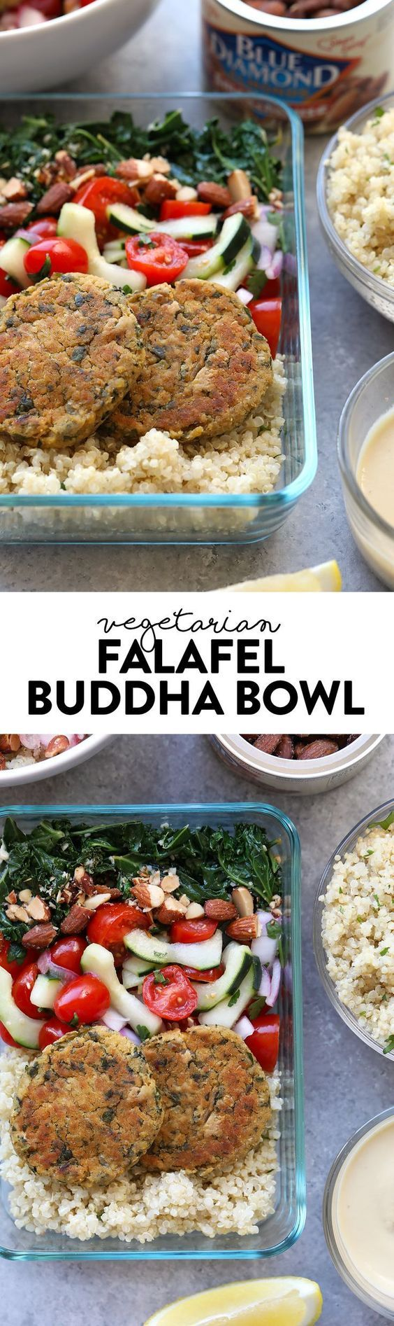 Get your meal prep game on with these delicious Vegetarian Falafel Buddha Bowls -- made in partnership with Blue Diamond Almonds. #ad They are packed with fiber, protein, greens, and crunch (thank you Blue Diamond Almonds!).