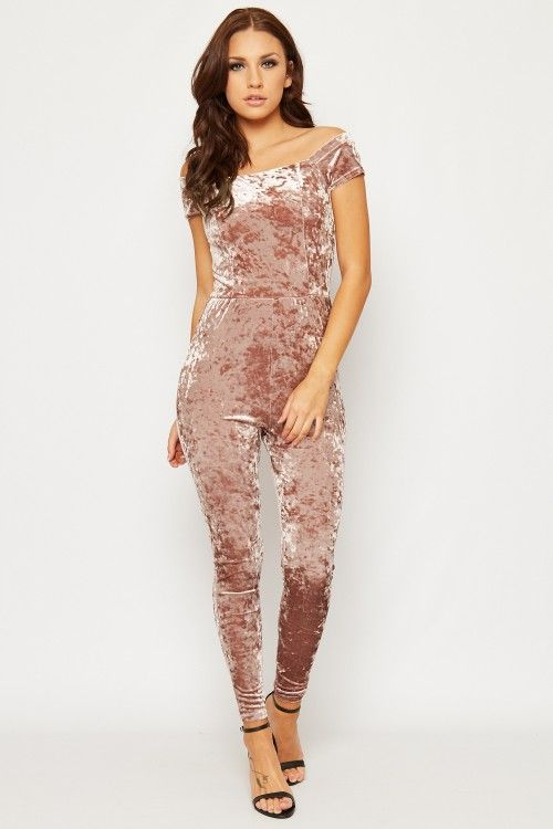 Lenore Crushed Velvet Bardot Jumpsuit | WearAll Find this gorgeous item at https://www.wearall.com/