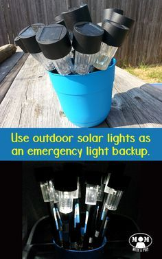 "Use solar lights stored in a flower pot in your backyard to create an emergency lighting backup for those times you lose power. This simple hack is probably something you probably already have in your backyard. Get more info at <a href=""http://momwithaprep.com/solar-light-flower-pot"" rel=""nofollow"" target=""_blank"">momwithaprep.com/...</a>"